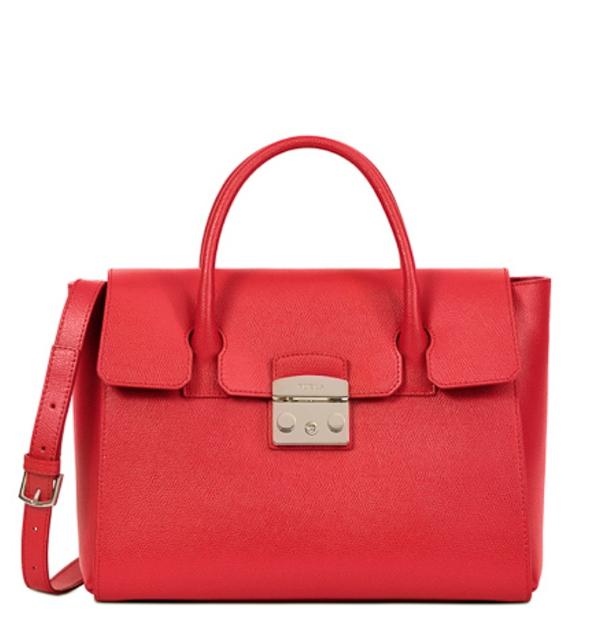 Značky - Kožená kabelka Furla Metropolis M ruby
