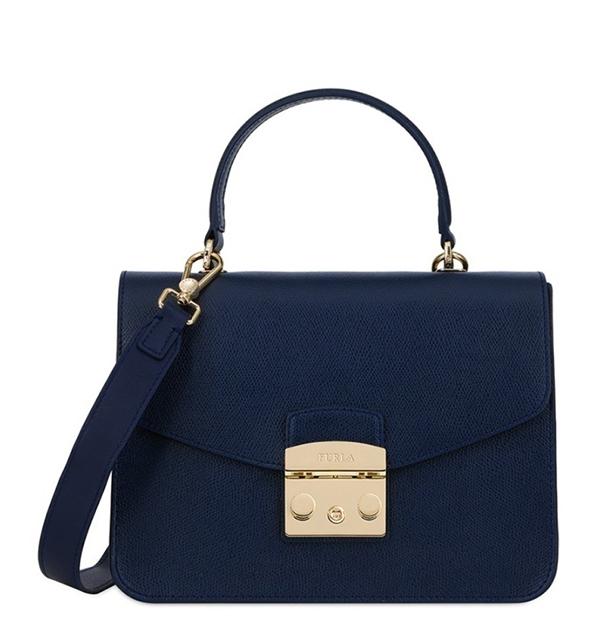 Značky - Kožená kabelka Furla Metropolis Top Handle S blu