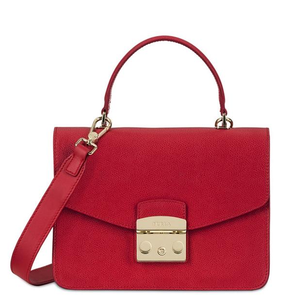 Značky - Kožená kabelka Furla Metropolis Top Handle S ruby