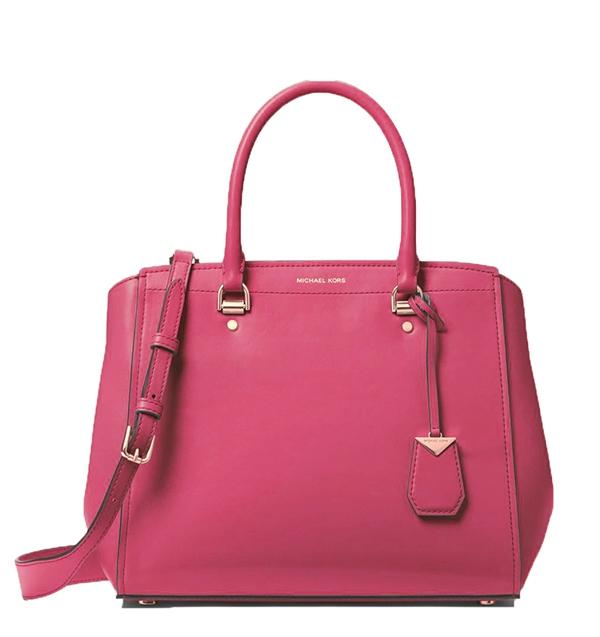 Značky - Kabelka Michael Kors Benning Large Leather Satchel rose pink 1b5bf334541
