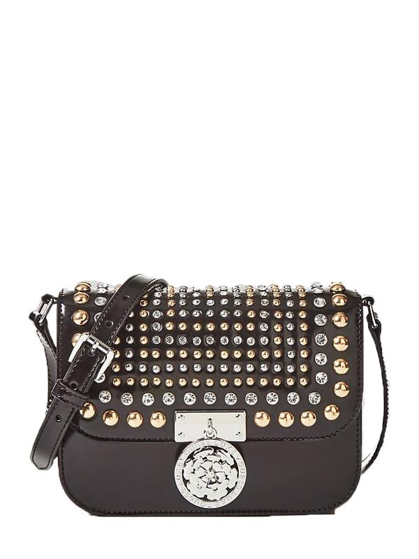Značky - Kožená kabelka Guess Boxy Leather Crossbody Appliqués