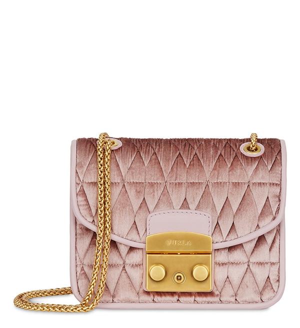 Značky - Kožená kabelka Furla Metropolis Mini Crossbody Cometa velvet rosa