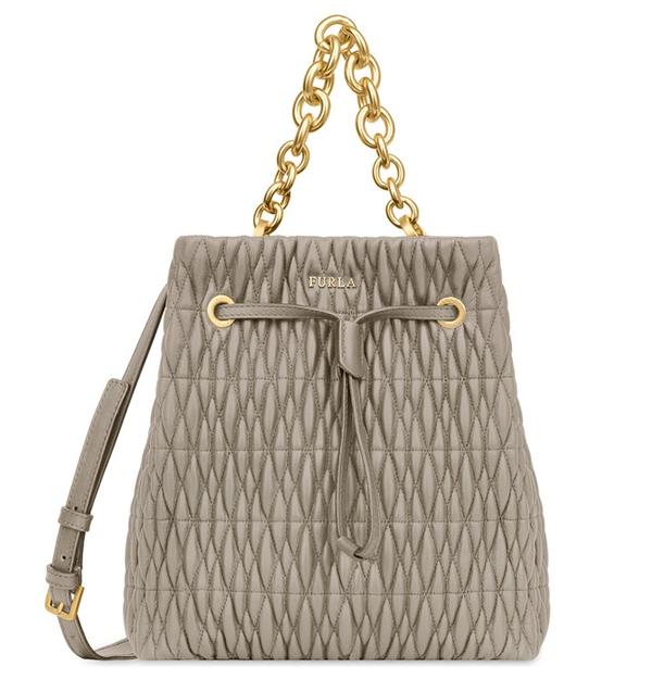 Značky - Kožená kabelka Furla Stacy Cometa Bucket S sabbia
