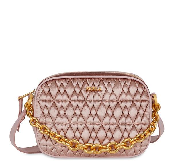 Značky - Kožená kabelka Furla Cometa Mini Crossbody velvet rosa