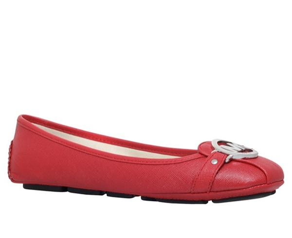 Značky - Baleriny Michael Kors Fulton bright red/stříbrné