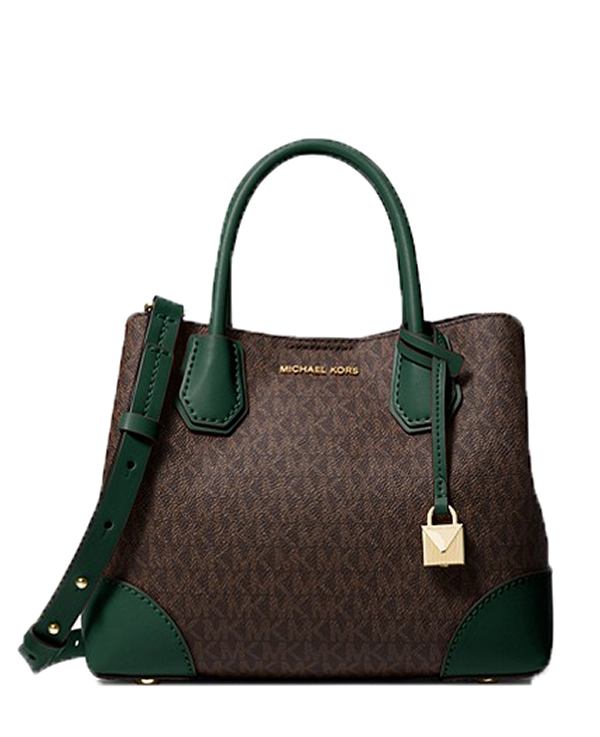 88ebf9e12 Značky - Kabelka Michael Kors Mercer Gallery Small Logo Satchel  brown/racing green