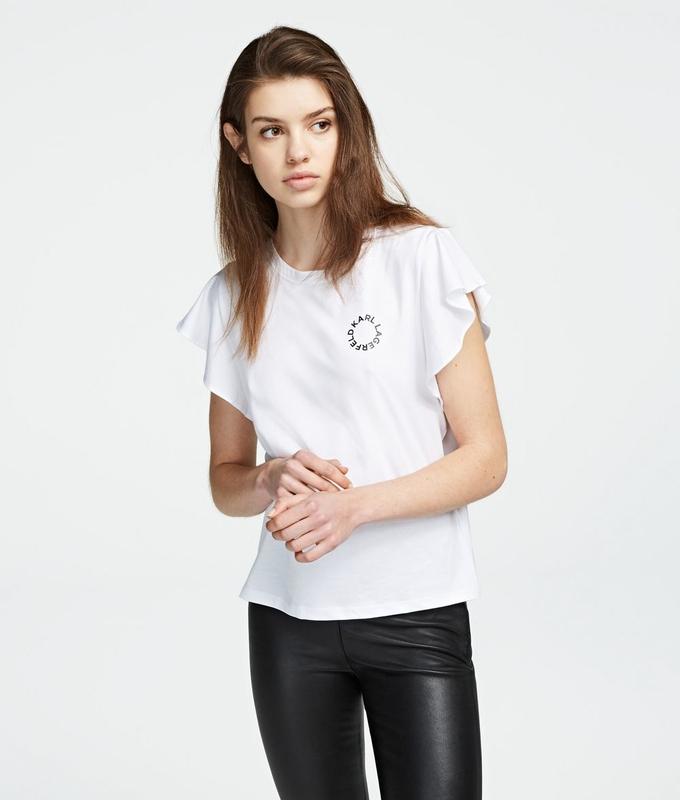 Ženy - Tričko Karl Lagerfeld Karl Short Ruffle Sleeve T-Shirt