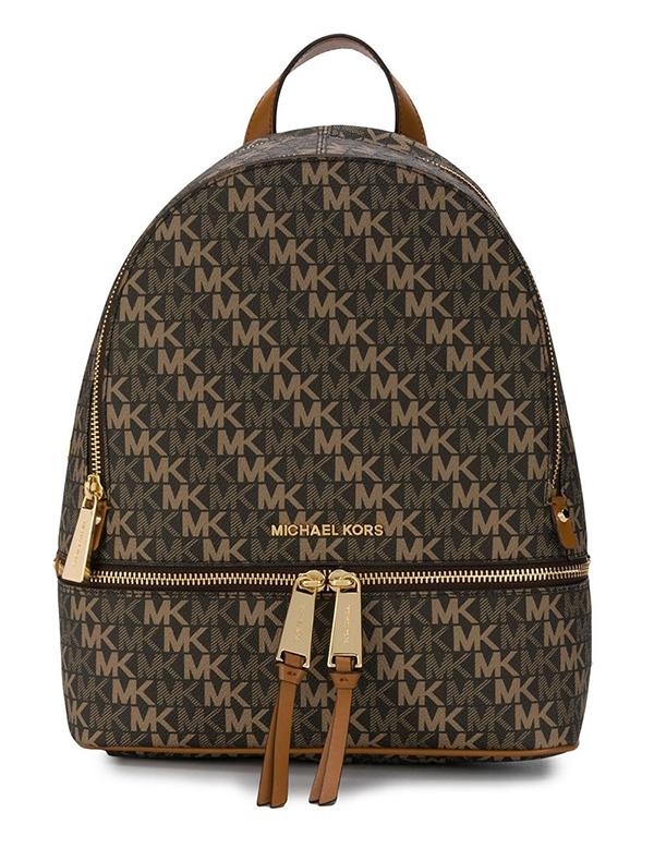 Značky - Kabelka Michael Kors Rhea Medium Backpack Signature brown/acorn