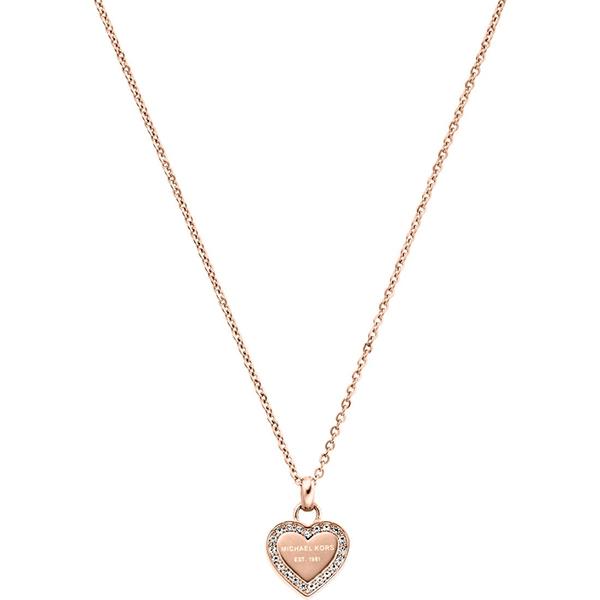 Značky - Náhrdelník Michael Kors Heart růžovozlatý