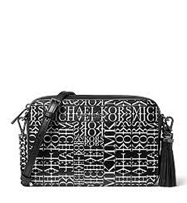 Značky - Kabelka Michael Kors Ginny Medium Newsprint Logo Leather Crossbody