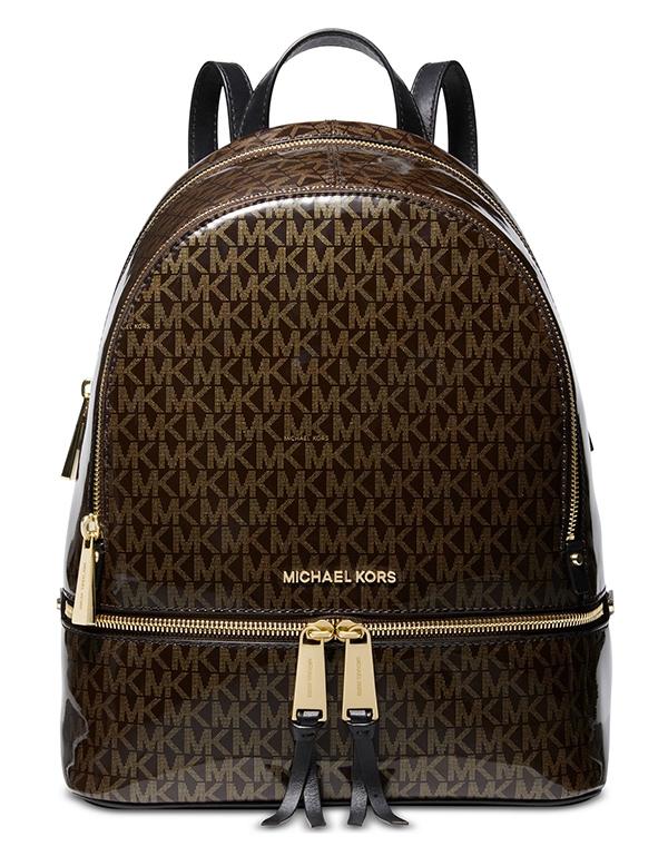 Značky - Kabelka Michael Kors Rhea Medium Glossy Logo Backpack brown