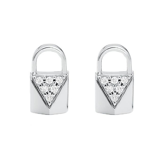 Značky - Naušnice Michael Kors  Pavé Lock Studs stříbrné