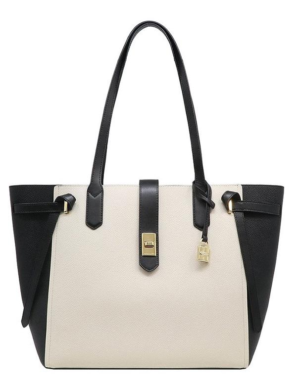 Značky - Kabelka Michael Kors Cassie Large Leather Tote vanilla/černá