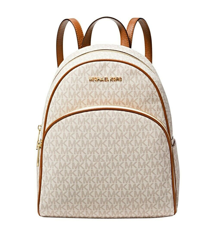 Značky - Kabelka batoh Michael Kors Abbey Medium Signature Backpack vanilla