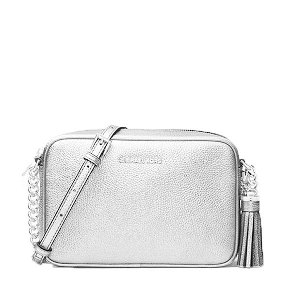 Značky - Kabelka Michael Kors Ginny Metallic Leather Crossbody stříbrná