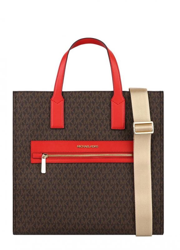 Značky - Kabelka Michael Kors Kenly Large Logo Tote brown/red