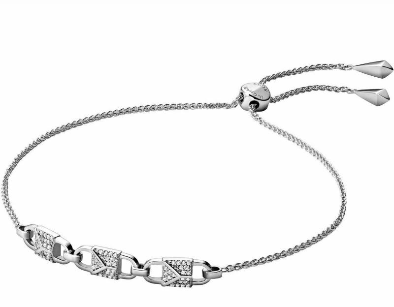 Značky - Náramek Michael Kors Pavé 3 Lock Studs stříbrný