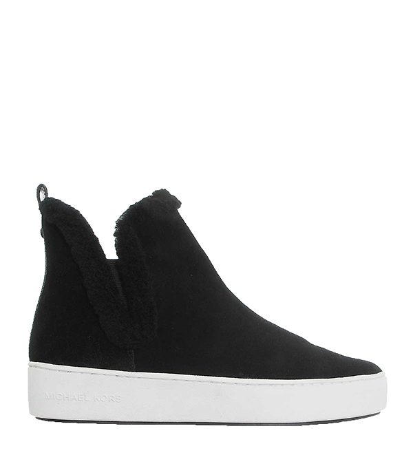 Značky - Obuv Michael Kors Ashlyn Suede and Shearling High-Top Sneaker černé