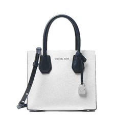 Kabelka Michael Kors Mercer Color-Block Leather Crossbody optic white/pale blue/navy