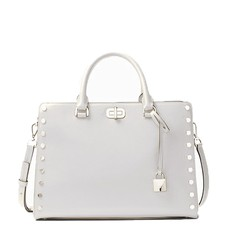 Kabelka Michael Kors Sylvie Large Studded Leather Satchel aluminium