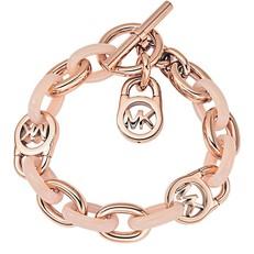 Náramek Michael Kors Logo Lock Toggle růžovozlatý/růžový