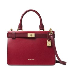 Kabelka Michael Kors Tatiana Small Two-Tone Leather Satchel maroon/oxblood
