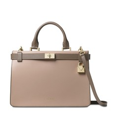 Kabelka Michael Kors Tatiana Medium Two-Tone Leather Satchel truffle/mushroom