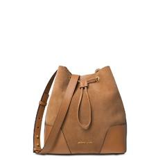 Kabelka Michael Kors Cary Medium Suede and Leather Bucket dark caramel