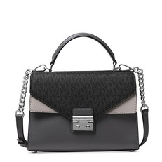 Kabelka Michael Kors Sloan Leather and Logo Satchel pearl grey/charcoal/silver