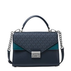 Kabelka Michael Kors Sloan Leather and Logo Satchel  admiral/teal/silver