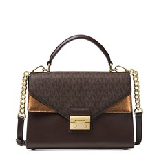 Kabelka Michael Kors Sloan Leather and Logo Satchel chocolate