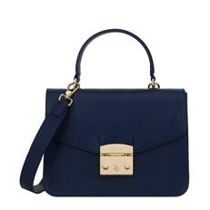 Kožená kabelka Furla Metropolis Top Handle S blu