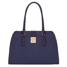 Kožená kabelka Furla Milano Tote M blu