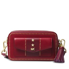 Kabelka Michael Kors Studded Pocket Camera maroon/oxblood