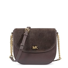 Kabelka Michael Kors Mott Leather and Suede Saddle chocolate