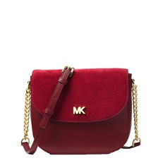 Kabelka Michael Kors Mott Leather and Suede Saddle oxblood/maroon