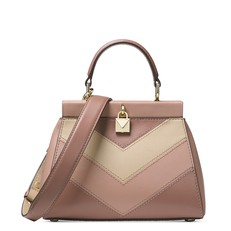 Kabelka Michael Kors Gramercy Small Tri-Color Leather Frame Satchel dusty Rose/oat
