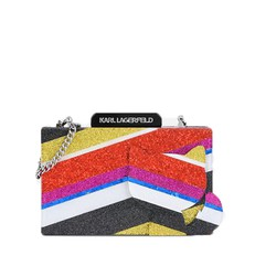 Kabelka Karl Lagerfeld K/Stripes Glitter Minaudière Clutch