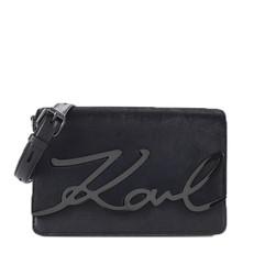 Kabelka Karl Lagerfeld K/Signature Luxe Leather Shoulder temně modrá