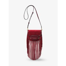 Kabelka Michael Kors Cary Small Fringed Suede Saddle maroon