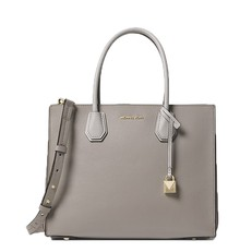 Kabelka Michael Kors Mercer Large Pebbled Leather Accordion Tote pearl grey