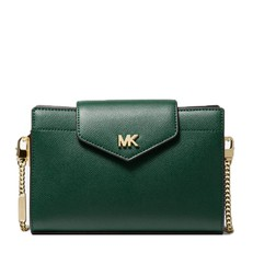 Kabelka Michael Kors Large Crossgrain Leather Crossbody Clutch racing green