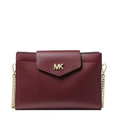 Kabelka Michael Kors Large Crossgrain Leather Crossbody Clutch oxblood