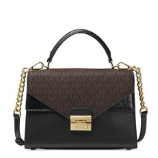 Kabelka Michael Kors Sloan Medium Logo and Leather Satchel black/brown
