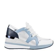Obuv Michael Kors tenisky na klínu Liv Canvas and Leather bílé/modré