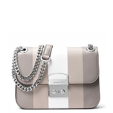 Kabelka Michael Kors Sloan Editor Shoulder Stripe pearl grey/white