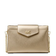 Kabelka Michael Kors Large Metallic Crossgrain Leather Crossbody Clutch