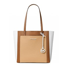Kabelka Michael Kors Gemma Large Tri-Color Pebbled Leather Tote butternut/acorn/optic white
