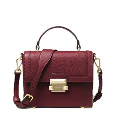 Kabelka Michael Kors Jayne Small Pebbled Leather Trunk oxblood
