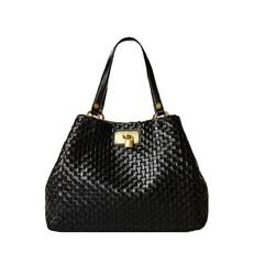 Kožená kabelka Guess Lola Large Braided Leather Shopper